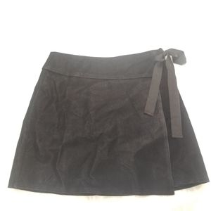 Sugarlips nina bow black suede faux wrap skirt